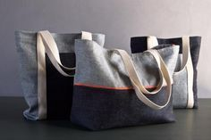 Favorite Totes in Denim with Colored Motes Free pattern from Purl Soho