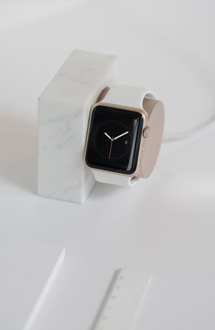 DOCK for Apple Watch Marble Edition in White minimal design by Native Union. Keep your Apple Watch in this stylisth dock on your bedside table.