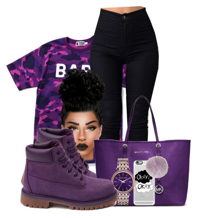 """purp bape"" by chiamaka-ikaraoha ❤ liked on Polyvore featuring A BATHING APE, Michael Kors, Casetify and Topshop"