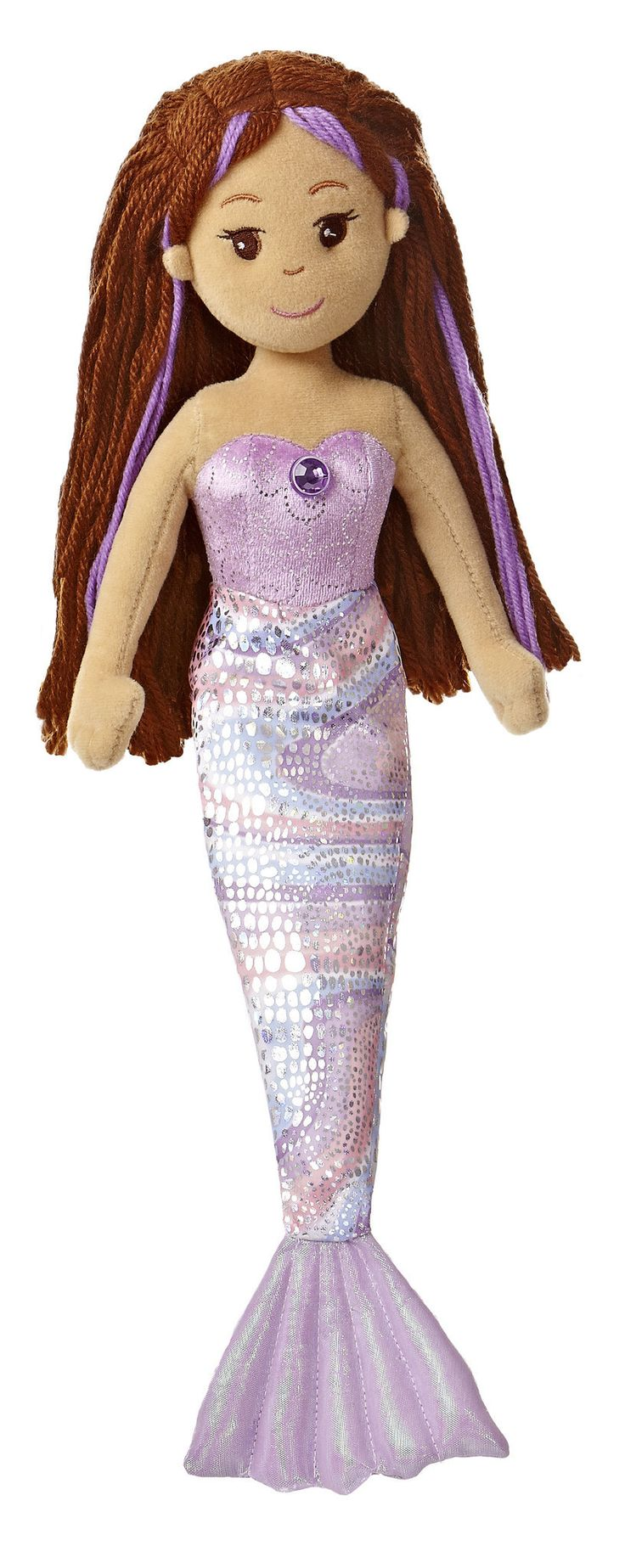 "18"" medium SOPHIA is a beautiful dark-skinned mermaid doll with brown flowing hair and sparkly purple fin and purple jewel. - Made with beautiful sparkle and shimmer fabrics and jewel accent - Yarn ha"
