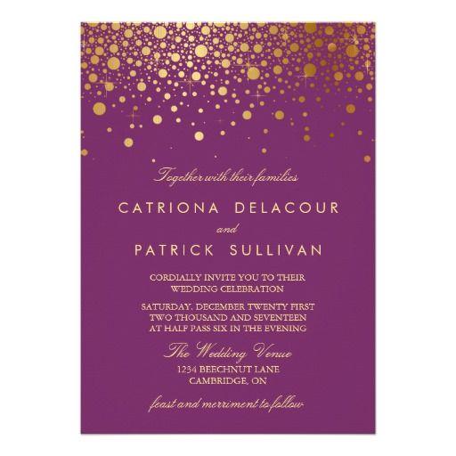 Faux Gold Foil Confetti Purple Wedding Invitation 5 X 7 Card