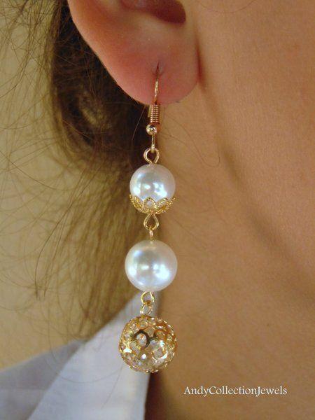 Bridal dangle earrings Mop dangle earrings Crystal in cage earrings White shell pearl earrings Gift for her jewelry Gold tone earrings