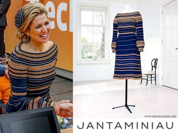 Queen Maxima at KingsDay 2017 in Tilburg in JanTaminiau Dress