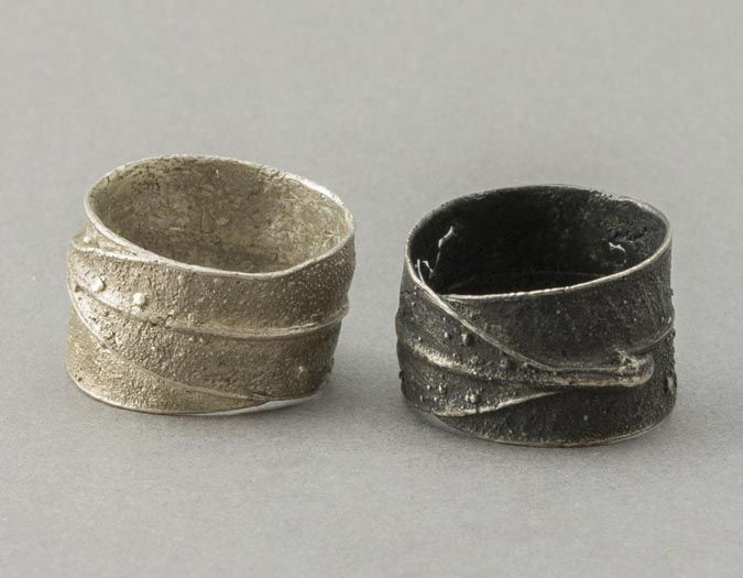 QUOIL - Contemporary Jewellery Gallery - Fran Carter - leaf rings - sterling silver