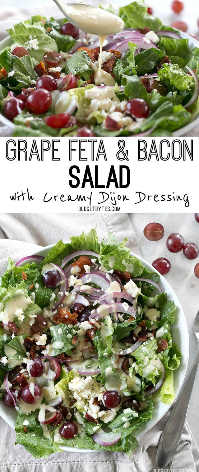 This Grape Feta and Bacon Salad is gourmet made simple and affordable. @budgetbytes