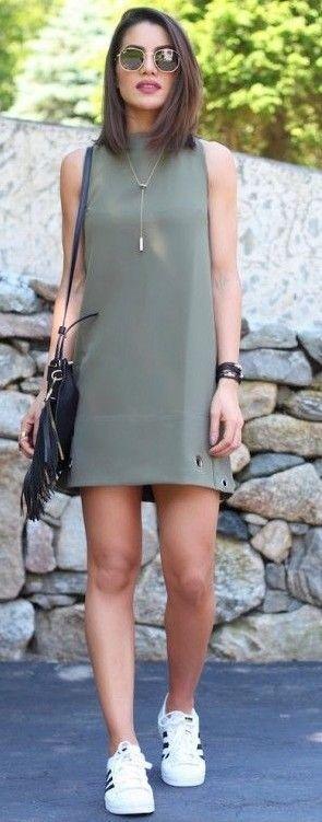 #summer #feminine #outfitideas | Army Green Feminine Dress