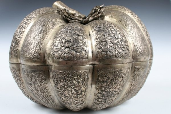 Cambodian Silver Pumpkin Shaped Snuff Box Hand Pounded