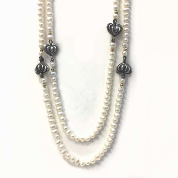 Argo & Lehne Jewelers. Pearl, Sterling and Gold Necklace.