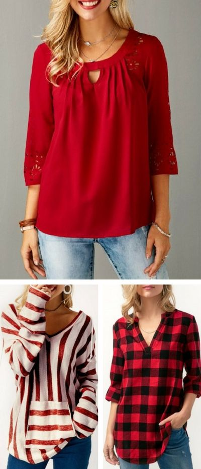 Really like the neckline of the blouse. Red is beautiful.