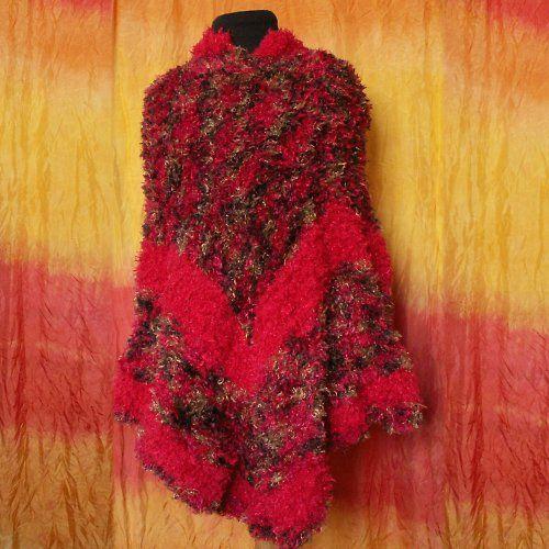 Pončo - pletené červené