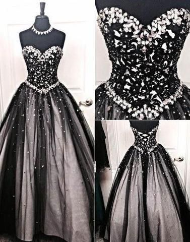 Black and silver stones prom dresses tulle prom dresses sweetheart corset prom ball gowns fashion dress for party vestido de formatura