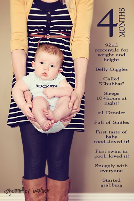 Several ideas for recording the stages of a child's life. I think they're really cool and easily adaptable to other events in life, such as travel, sports, rehearsals or a new pet.10 Tips For Photographing Your Baby, encourages new mothers to plan ahead and take a monthly picture, putting text into the picture of the changes that month.