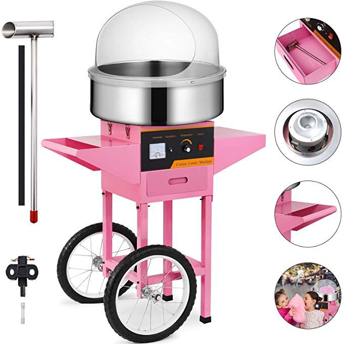 Floss Maker Pink W//Cover Electric Commercial Cotton Candy Machine