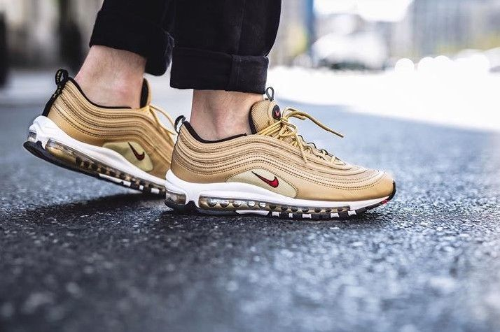 7bda96746c NIKE AIR MAX 97 OG QS | METALLIC GOLD-VARSITY RED | 884421-700 RARE ...