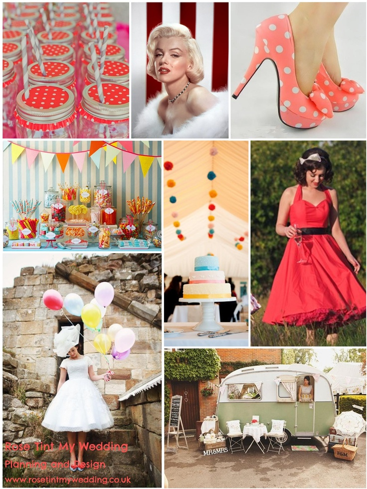 50s colourpop wedding inspiration. Polkadots, full skirts and red lipstick are styling must-haves. Add a nostalgic sweetie-bar and some quirky details, have fun with it! www.rosetintmywedding.co.uk #50swedding #1950swedding
