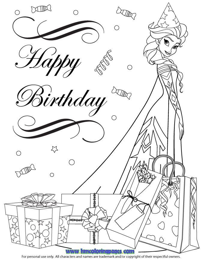 Frozen Cast Elsa In Party Hat Coloring Page