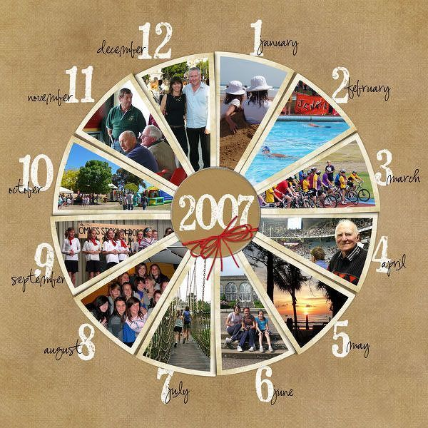 #papercraft #scrapbook #layout. 2007 Year in Review - Two Peas in a Bucket