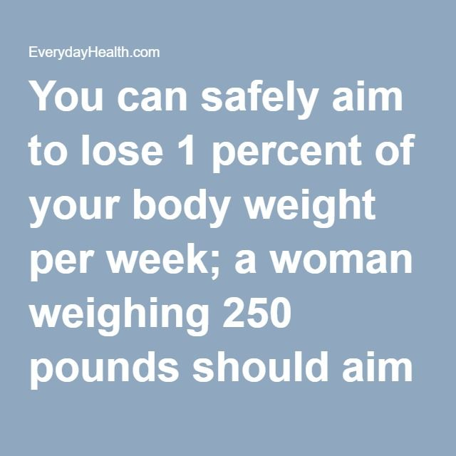 You can safely aim to lose 1 percent of your body weight per week; a woman weighing 250 pounds should aim for a 2.5-pound loss per week, eating about 1,250 calories less per day.