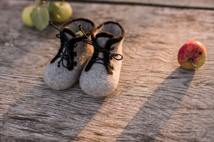 Baby shoes infant boots boys felted baby booties newborn gift baby shower day gift laced shoes grey boots wool shoes girls boots black laces by AureliaFeltStudio on Etsy