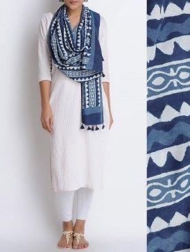 Indigo-Ivory Hand Block Printed Cotton Stole