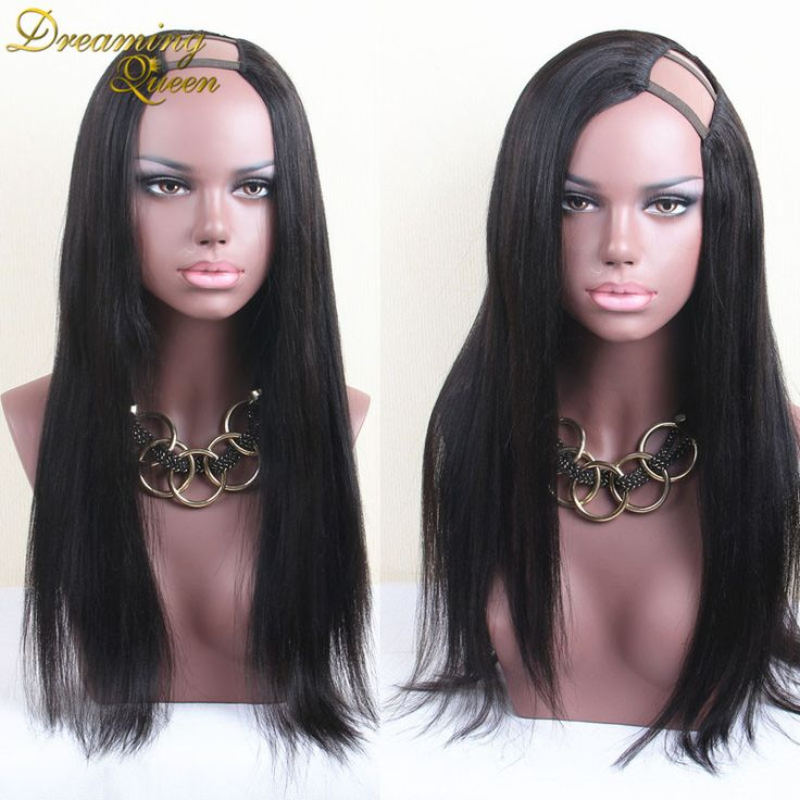 Cheap Light Yaki U Part Human Hair Wigs 7A Virgin Mongolian Hair Yaki Straight Wig 130 Density U Part Wig Middle Part UPart Wigs