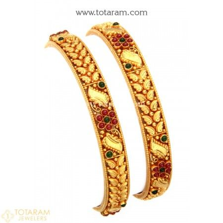 22K Fine Gold Bangles - Set of 2 (1 Pair) Temple Jewellery - 235-GBL1206 - Buy this Latest Indian Gold Jewelry Design in 36.000 Grams for a low price of  $1,949.99