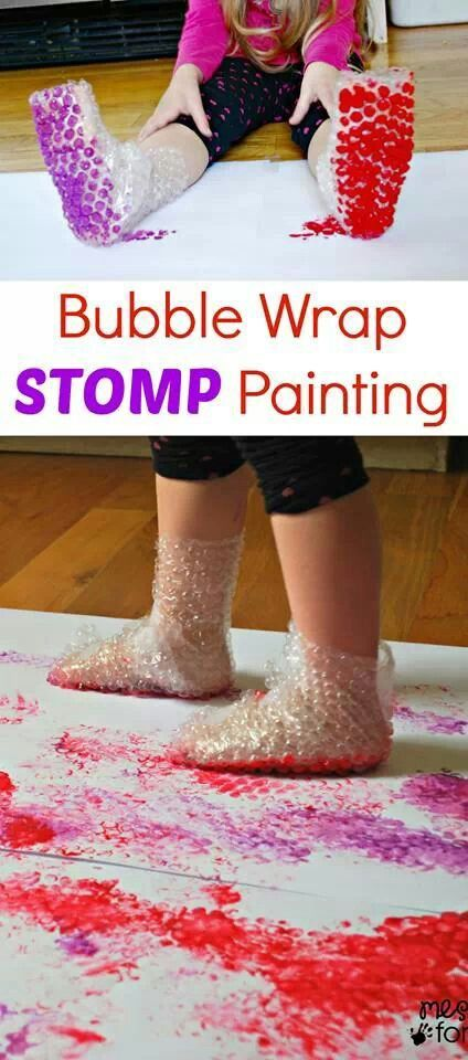This is a fun way to paint, wearing bubble wrap boots. Let's do the Bubble Wrap…