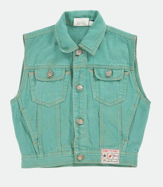 Children's vintage green denim waistcoat. by PeachandLoveVintage, £15.00
