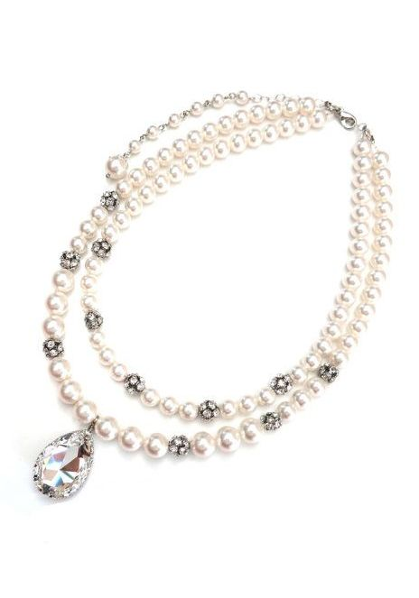 Shay Pearl Necklace with crystal fireballs