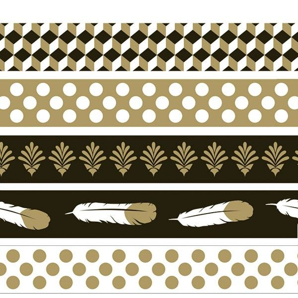 Masking tape Artemio collection Gold - Assortiment 5 masking tape 15mm x5m