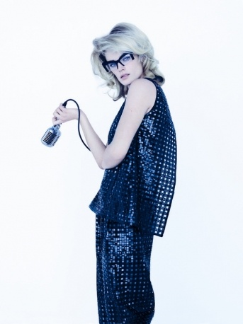 Swinging lady: sequinned Giorgio #Armani top and matching trousers