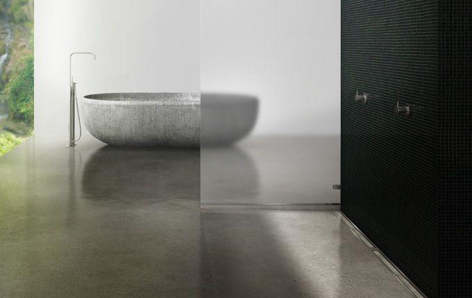 Elegant bathroom with a costumised modular line drain system. Shower with linear floor drain in solid brushed stainless steel. unidrain®: Modul 1100  #bathroom #badeværelse #design #nordic #scandinavian #inspirational #module1100 #customsolutions