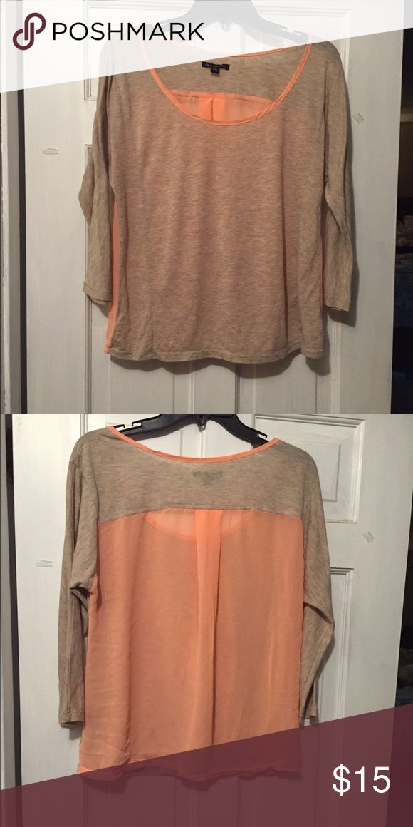 Adorable American Eagle Mixed material shirt Trendy mixed material shirt! Beige front with sheer orange back. Flowy- cute with cami! American Eagle Outfitters Tops