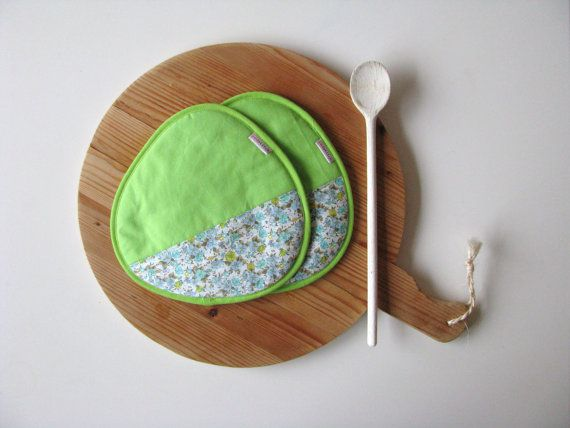 yellow green cotton potholders - floral blue and green cotton potholders - fun kitchen - housewarming gift - home decor - colorful kitchen