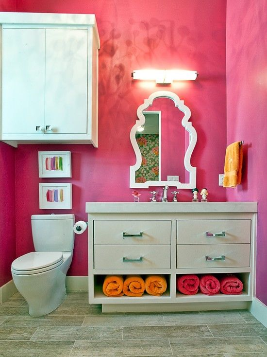 Eclectic Bathroom Design, Pictures, Remodel, Decor and Ideas - page 7: Bathroom Design, Kids Bathroom, Modern Bathroom, Bathroom Kids, Bathroomdesign, Bathroom Ideas, Contemporary Bathroom, Girls Bathroom, Pink Bathroom