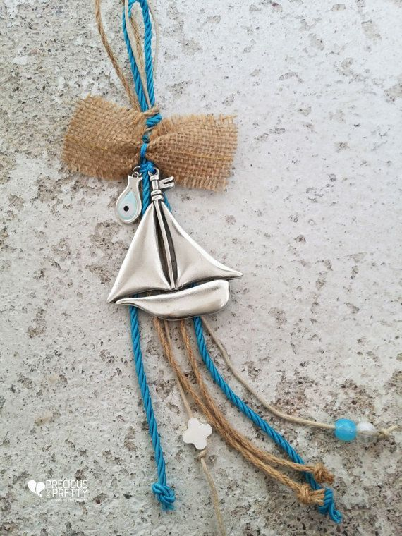 Evil Eye Greek Bombonieres Sail Boat Baptism Favors Nautical