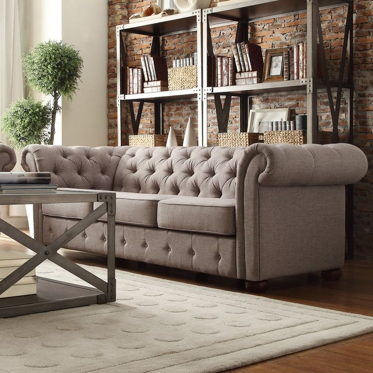TRIBECCA HOME Knightsbridge Grey Linen Tufted Scroll Arm Chesterfield Sofa - Overstock™ Shopping - Great Deals on Tribecca Home Sofas & Loveseats