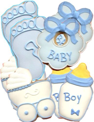 Favors:: Boy  Baby Shower Cookies. Can Wrap Them On Plastic Bag And