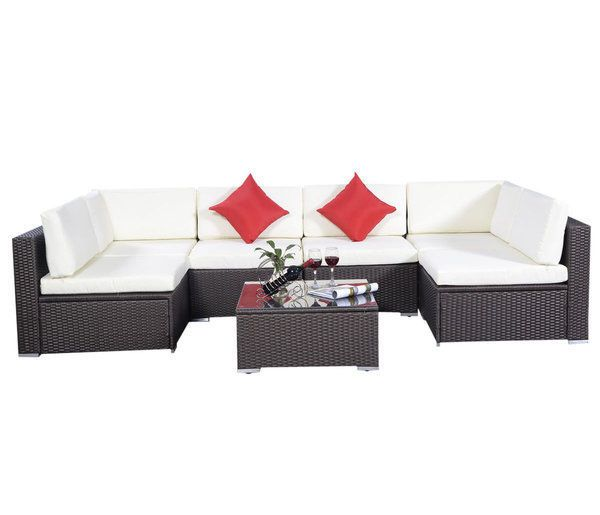 Patio Furniture Set Sofa Outdoor Rattan Couch Black Cushion Covers Aluminum  7PC
