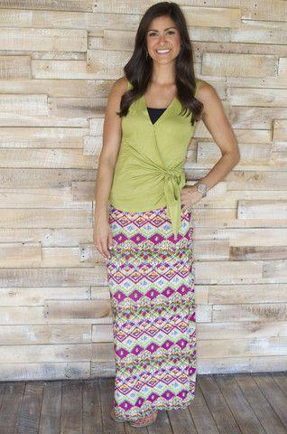 Colorful chevron maxi skirt.