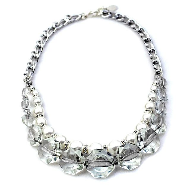 """LEORA NECKLACE   Antique cut crystals woven and knotted with soft grey organdy ribbon, white glass pearls, silver and crystal rondelles, silver plated curb chain, lobster clasp closure and ext. Length, 19-20"""".   $195"""
