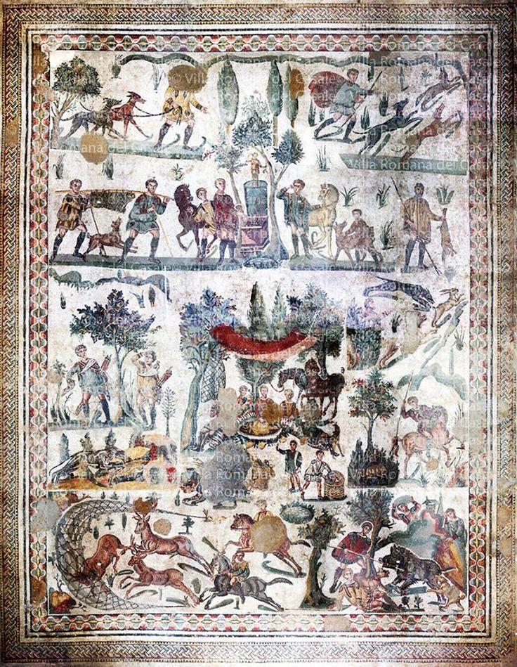 Sala da Pequena Caça -  ( final do 3C e o início do 4C AD)  Villa Romana del Casale - Sicília, Itália  Aqui, na Sala da Pequena Caça , cinco painéis de mosaicos retratam o calor da caça.   No canto superior esquerdo, um caçador libera seus cães para perseguir uma raposa (à direita).   Para dar graças por condições favoráveis e um dia bem sucedido, um sacrifício é oferecido a Diana, a deusa da caça.   Dois altos funcionários queimam incenso no altar, enquanto, atrás deles, um javali é visto…