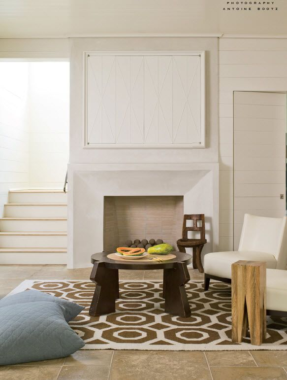 LOVE the mitered corners of the stone fireplace; Bates Corkern, via Design Manifest
