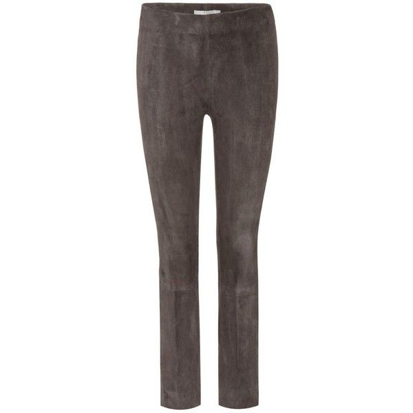 Vince Suede Trousers ($1,153) ❤ liked on Polyvore featuring pants, grey, straight, trousers, grey pants, straight pants, grey trousers, suede leather pants and suede pants