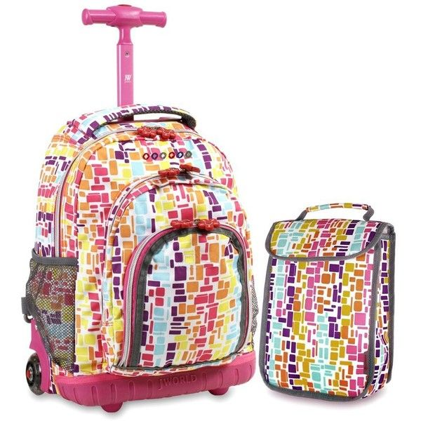 J World New York Lollipop Kids' Rolling Backpack with Lunch Bag ($33) ❤ liked on Polyvore featuring bags