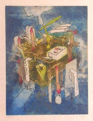"Matta ""Hom'mère III. L'Ergonaute: ""Vitreurs"""", 1977. Aguafuerte y aguatinta sobre Cobre de  49,5 x 37,5 cm., Papel Japón nacarado (suit) de 250 gr. de medidas 67 x 51,5 cm. Ej.:  100 + XXV HC (Arches) / suite 100 + 10 EA + XXV HC (Japón nacarado #art #etching"