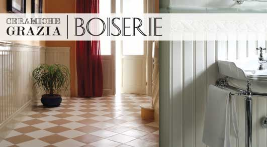 boiserie Ceramiche Grazia.  Like classic beadboard wainscotting in ceramic tile. There is also a cap molding & baseboard tile.