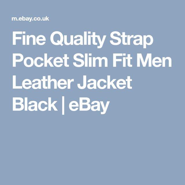 Fine Quality Strap Pocket Slim Fit Men Leather Jacket Black   eBay