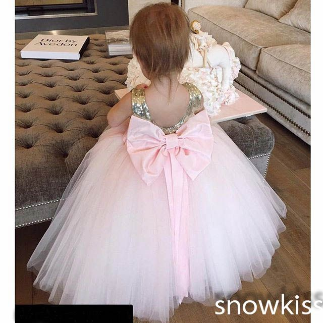 Nice gold and pink sequined flower girl dresses with bow sash lovely wedding 1 year birthday parties tulle ball gowns custom