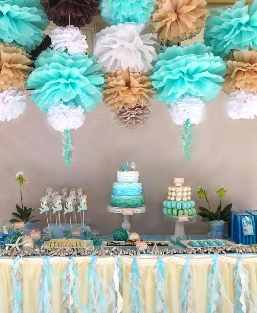 mermaid party: Pom Poms, Birthday Parties, Mermaid Parties, Pompom, Partyideas, Party Ideas, Mermaid Party, Baby Shower, Birthday Party